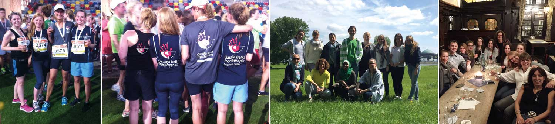 4 Fotos von Teamevents wie Laufen Sommerfest, Weihnachtsfeier